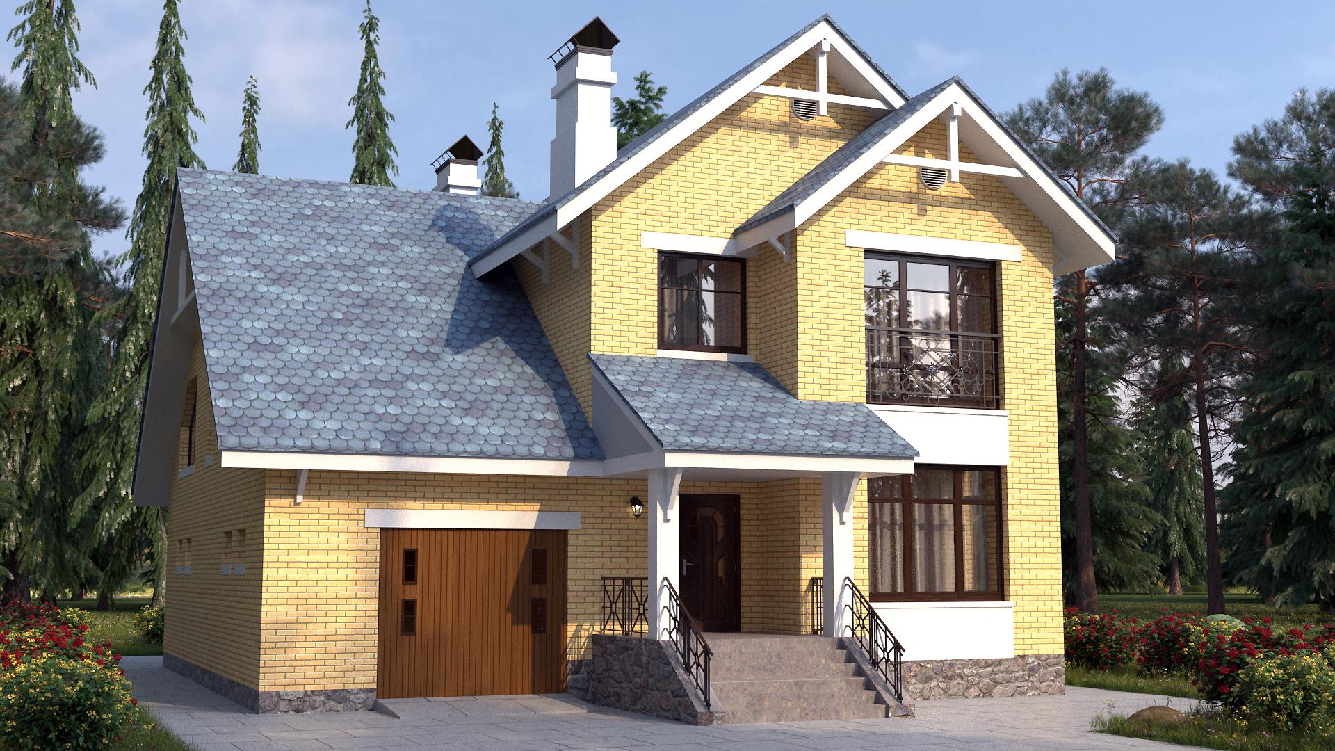 Готовый проект коттеджа 189 кв. м / Артикул Л-57 фасад