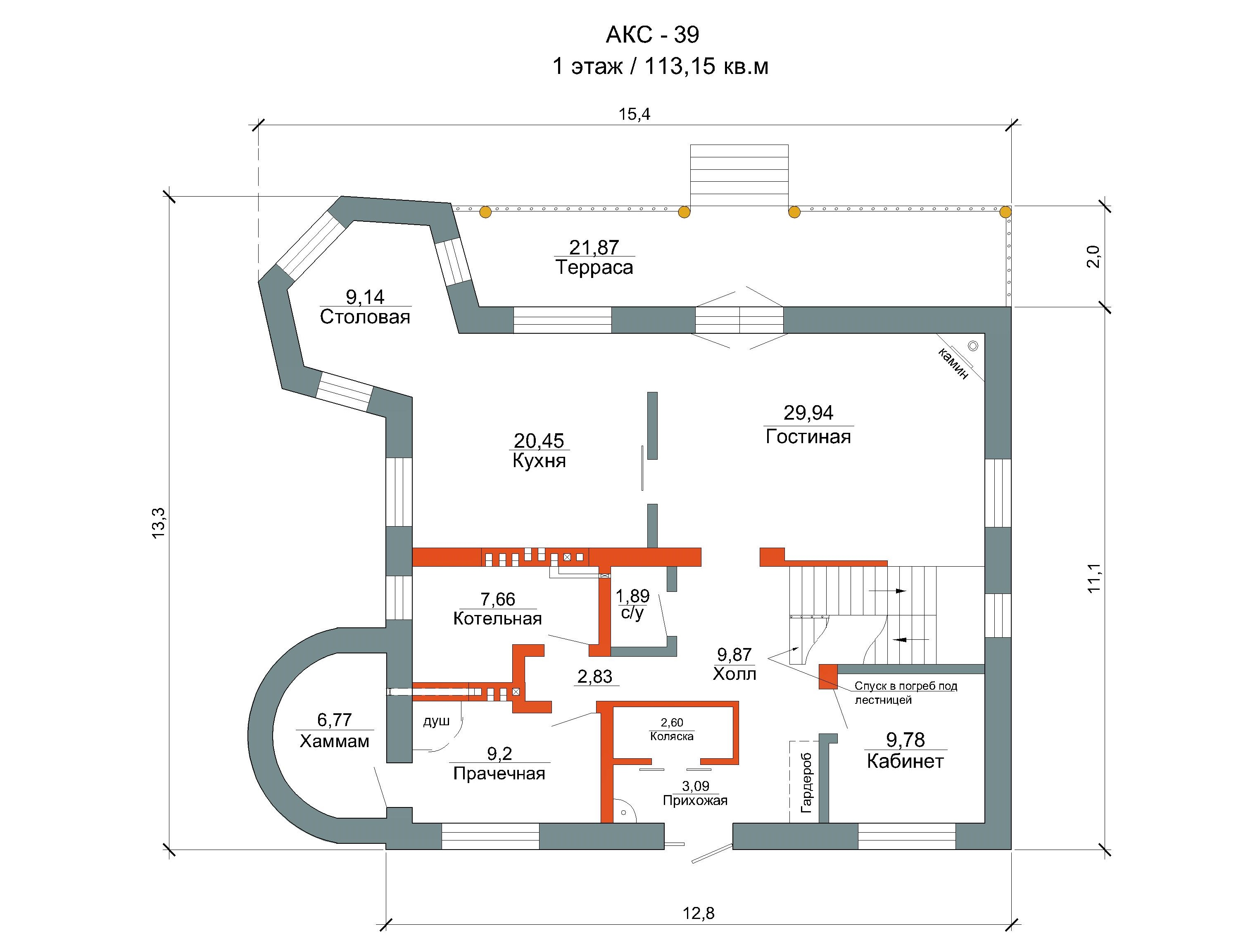 Готовый проект коттеджа 228 кв. м / Артикул AKC-39 план