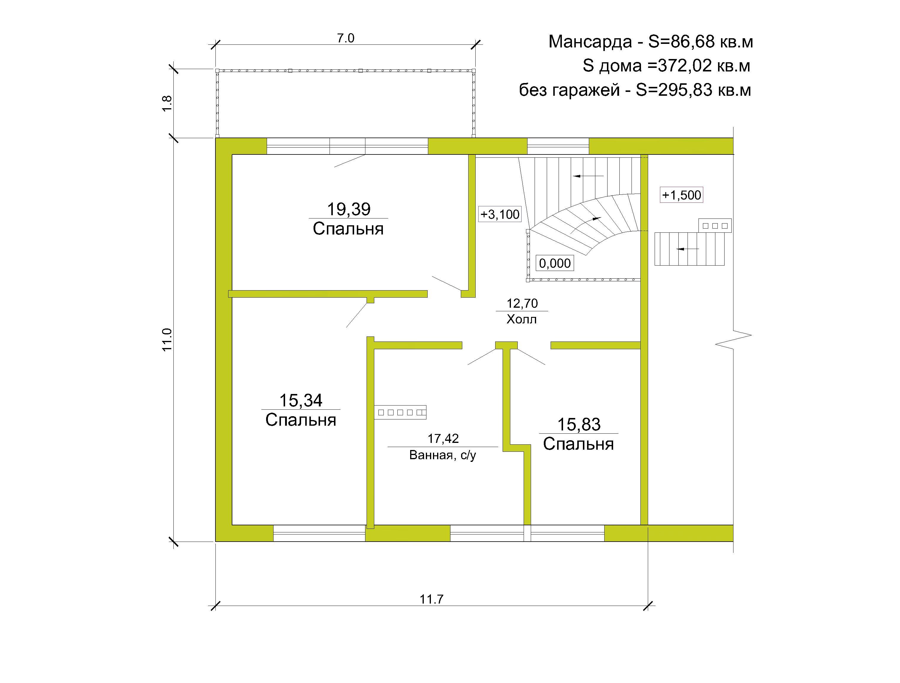 Готовый проект коттеджа 370 кв. м / Артикул И-51  план