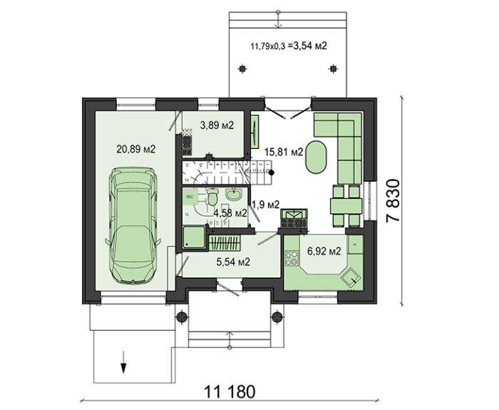 Проект дома 4m3343 план