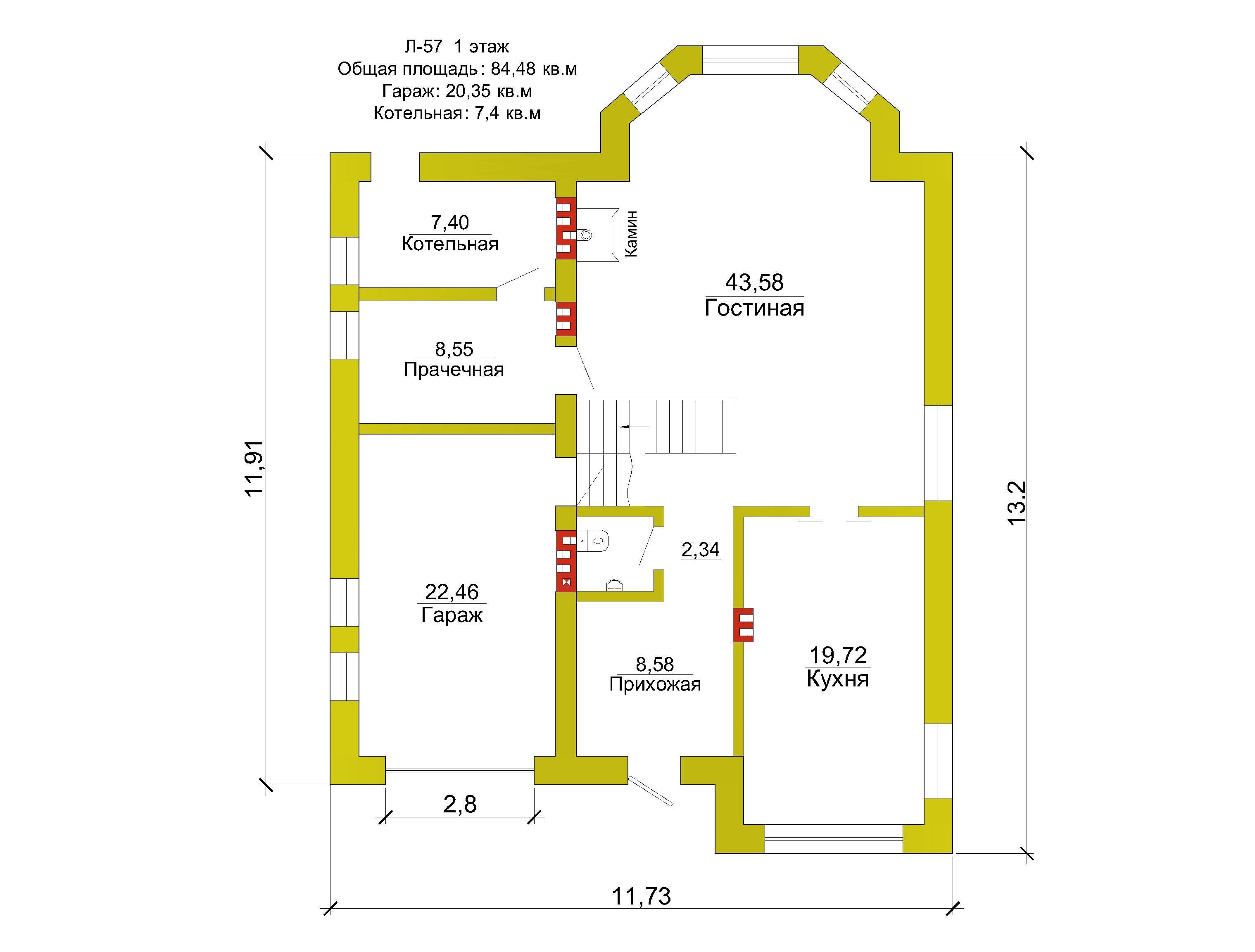 Готовый проект коттеджа 189 кв. м / Артикул Л-57 план