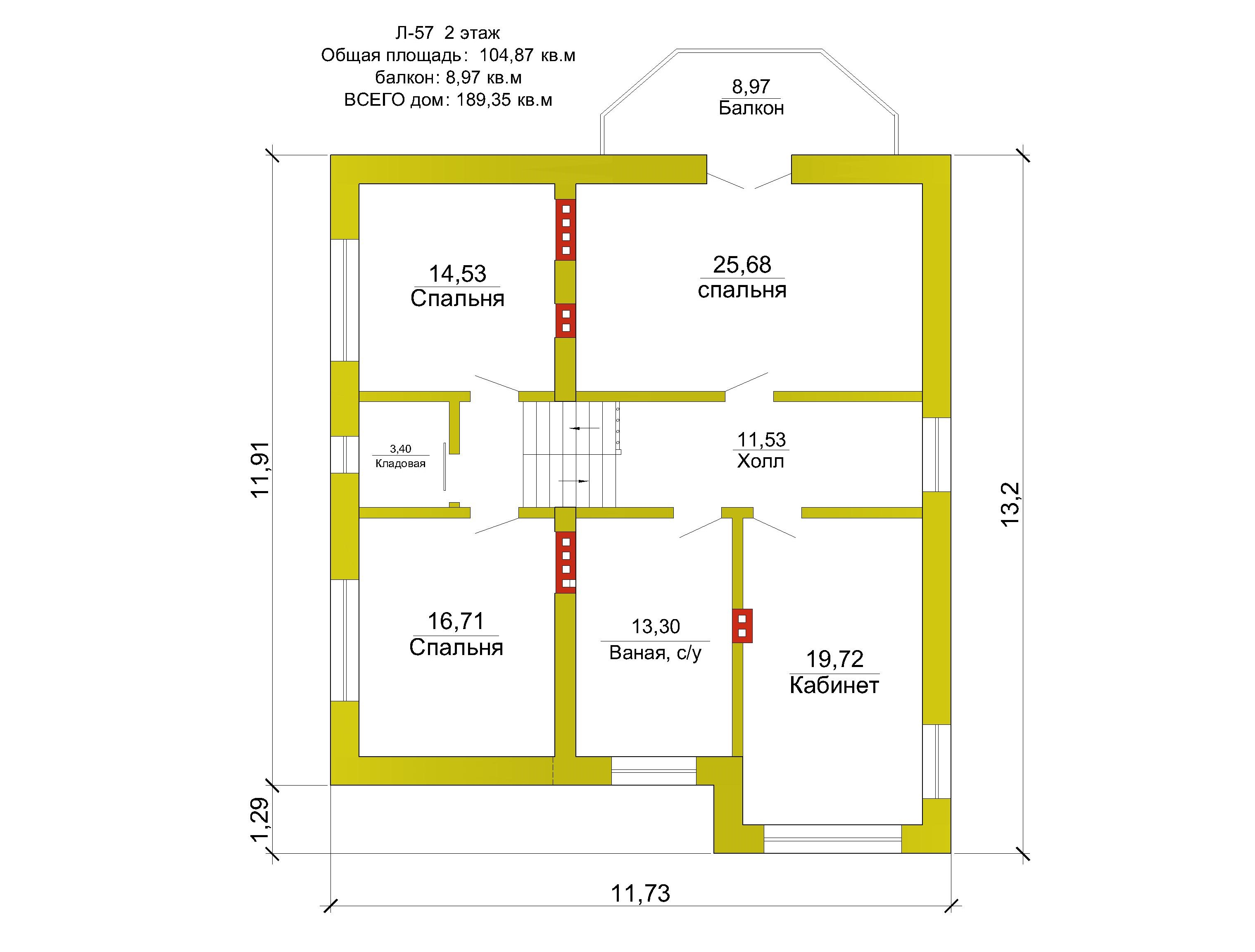 Готовый проект коттеджа 110 м2 / Артикул М-58.1 план