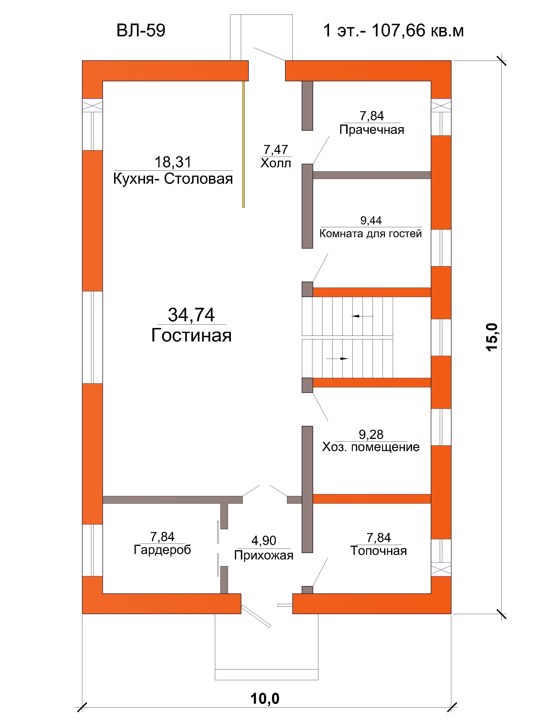 """Готовый проект коттеджа в стиле """"Куб"""" - 214 кв.м / план"""