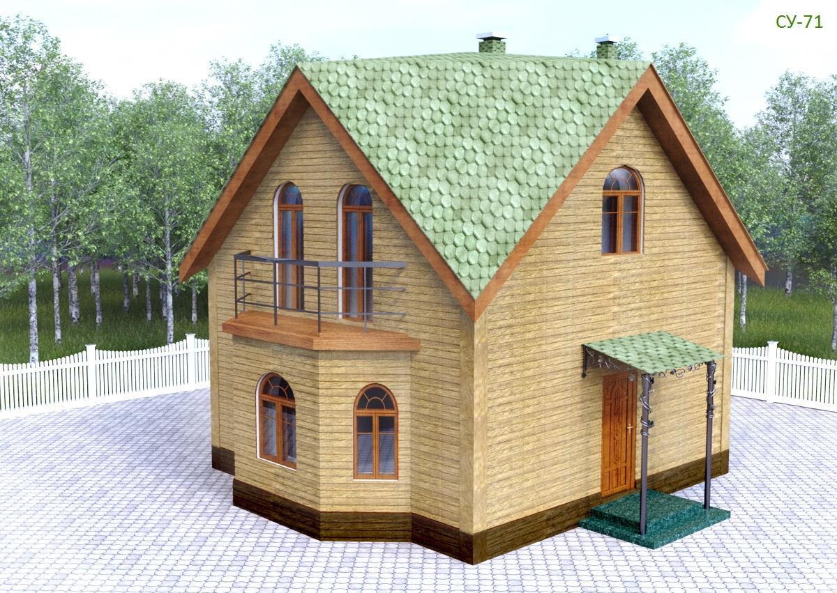 Проект уютного дома 64 кв.м / Арт. Cу-71 фасад