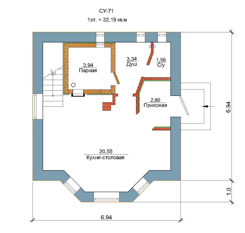 Проект уютного дома 64 кв.м / Арт. Cу-71 план
