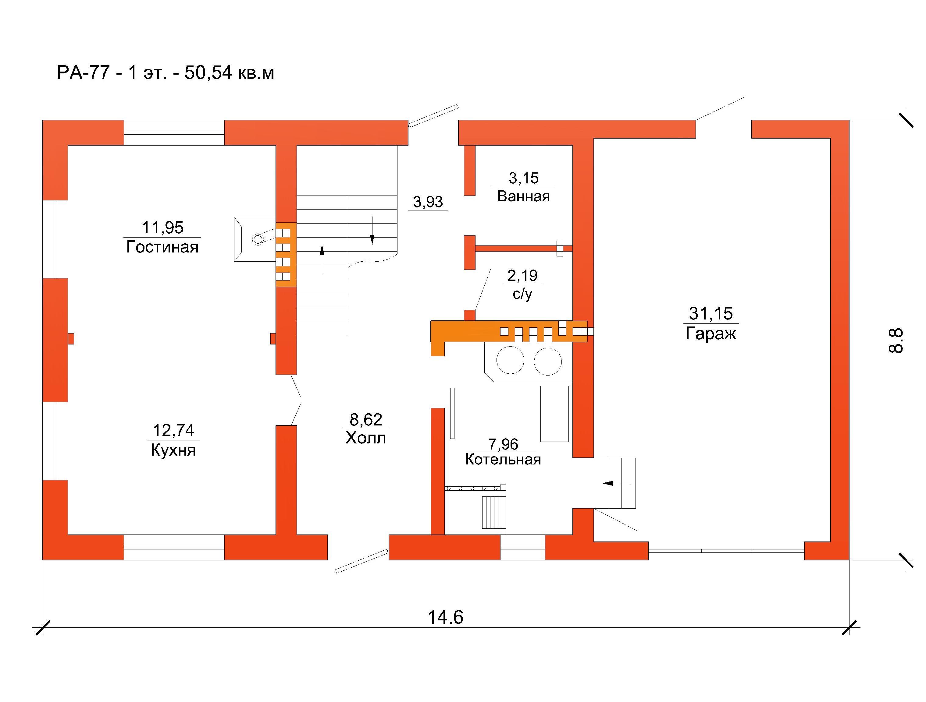 Готовый проект коттеджа 102 м2 / Артикул RA-77 план