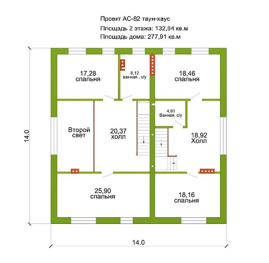 Готовый проект таун-хауса 277кв. м / Артикул АС-82 план