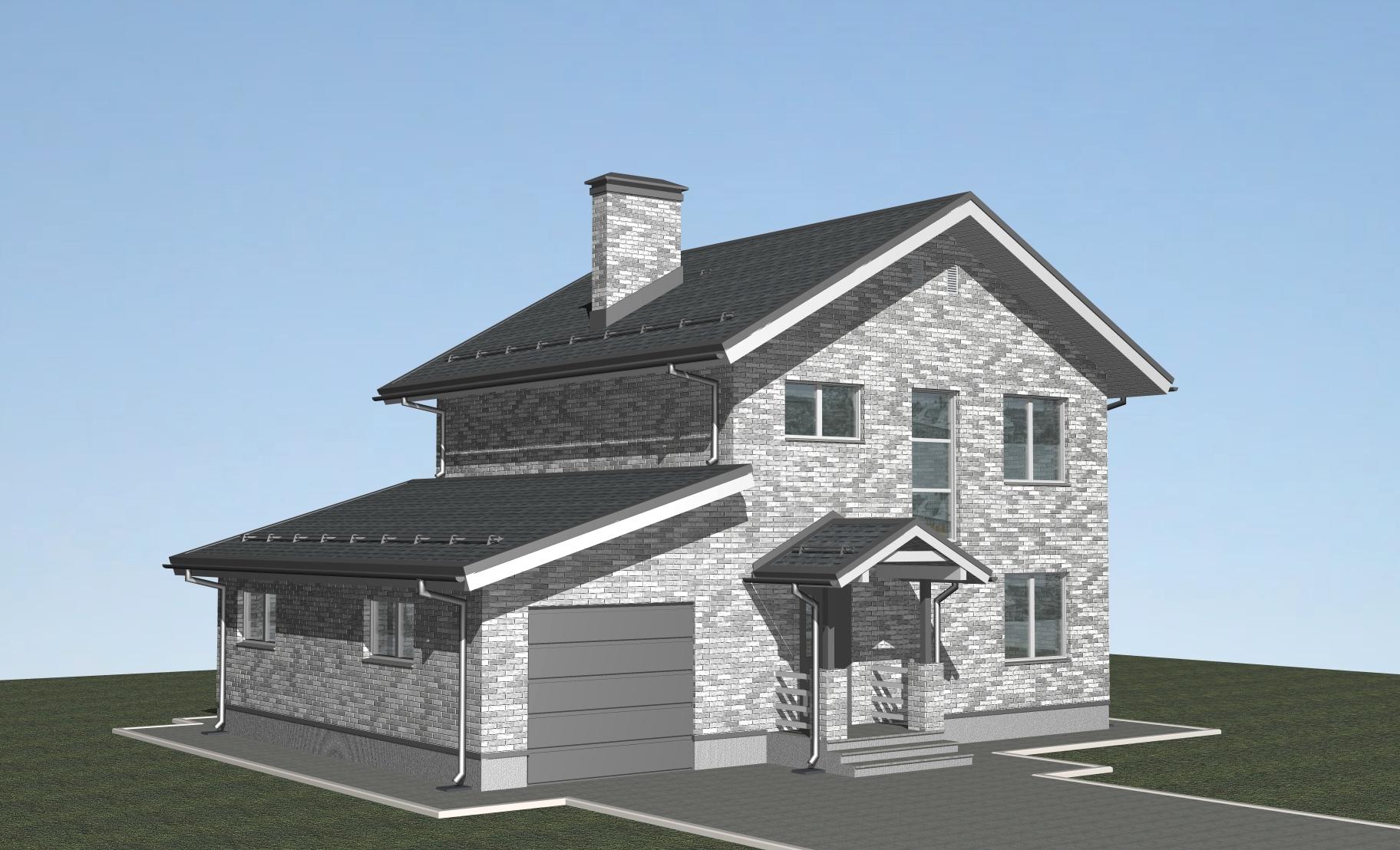 Проект дома из газобетона Л-02-22 фасад