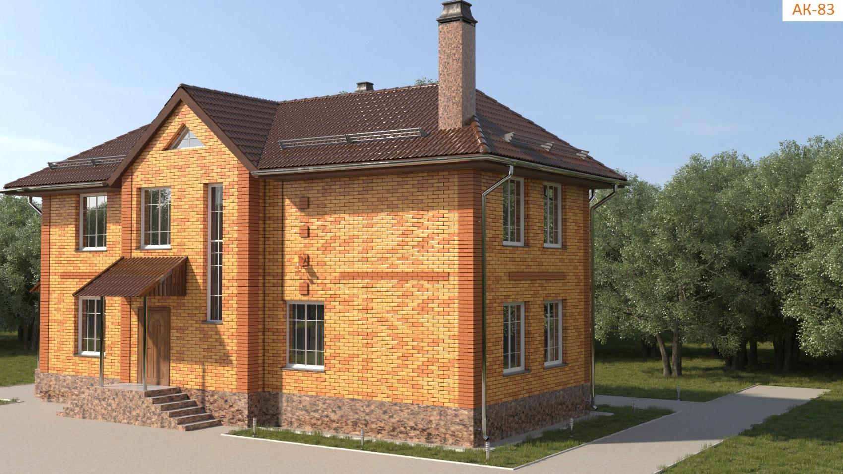 Проект дома для узкого участка 135 кв. м / AK-83 фасад
