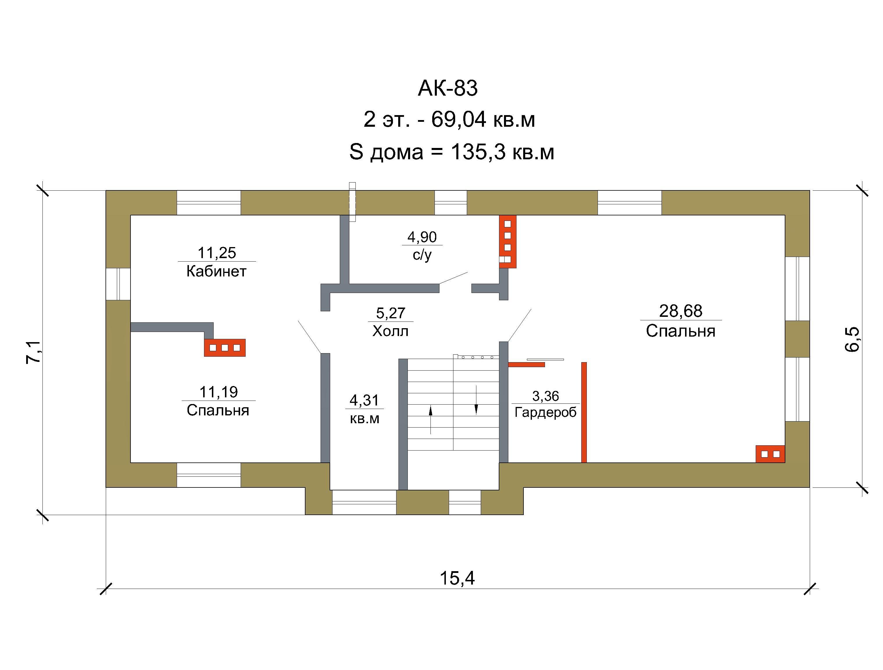 Проект дома для узкого участка 135 кв. м / AK-83 план