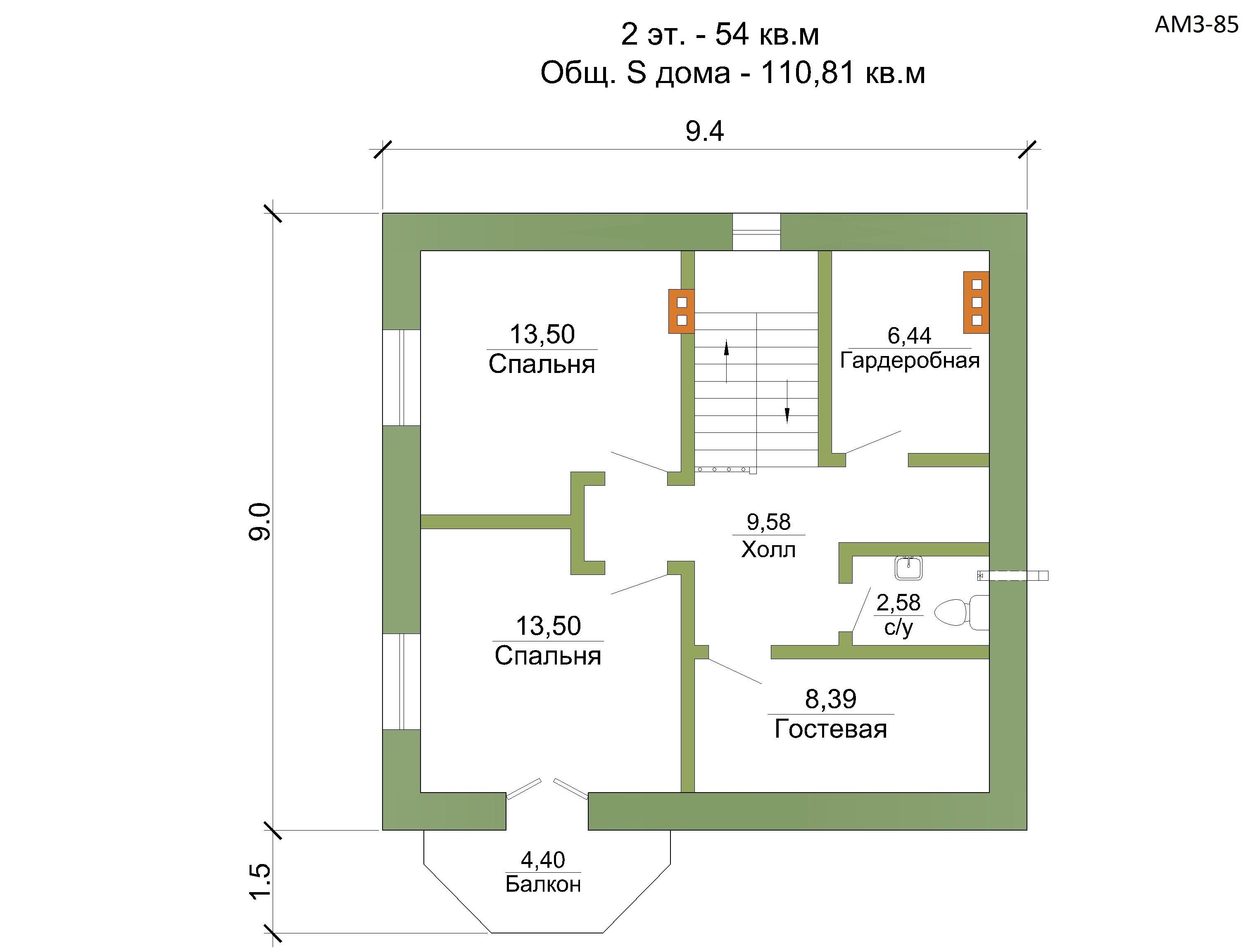 Готовый проект коттеджа 110 кв. м / Артикул amZ-85 план