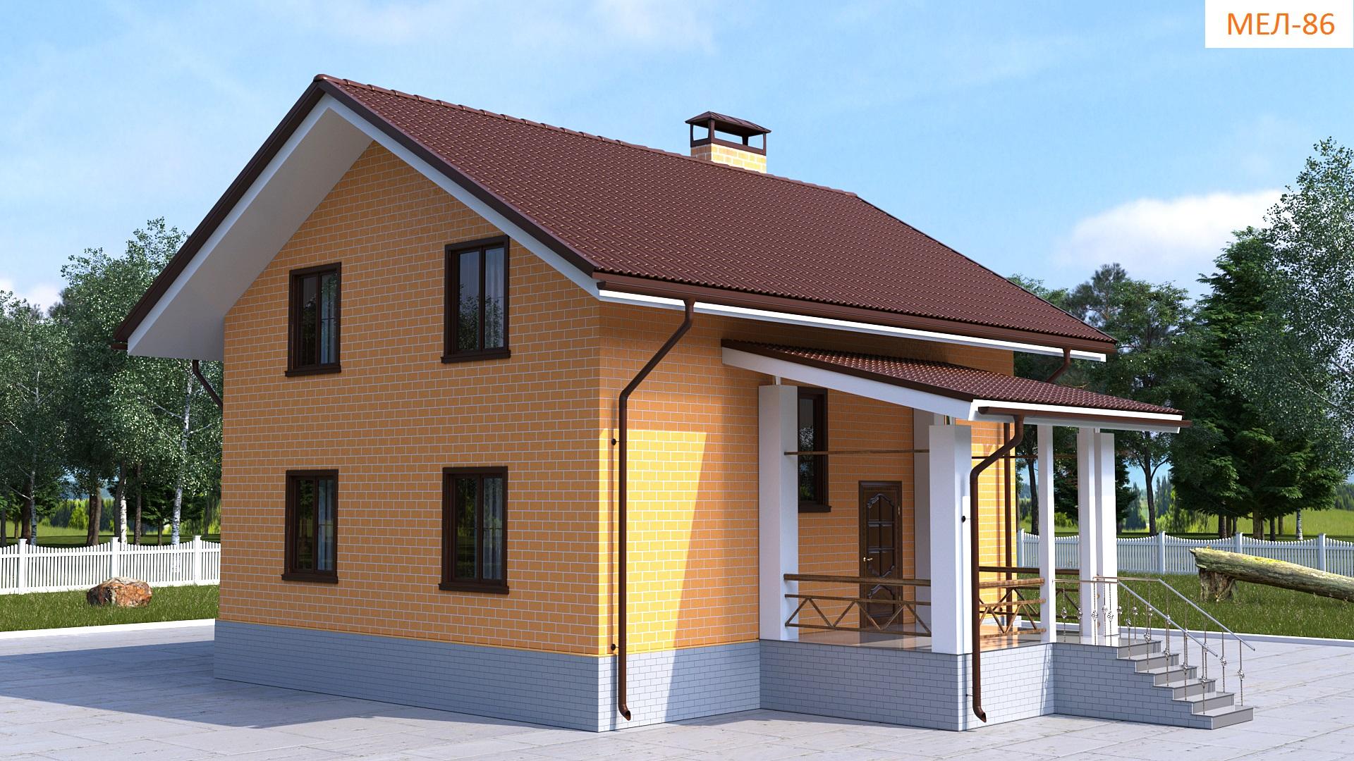 Готовый проект коттеджа 124 кв. м / Артикул Мел-86 фасад