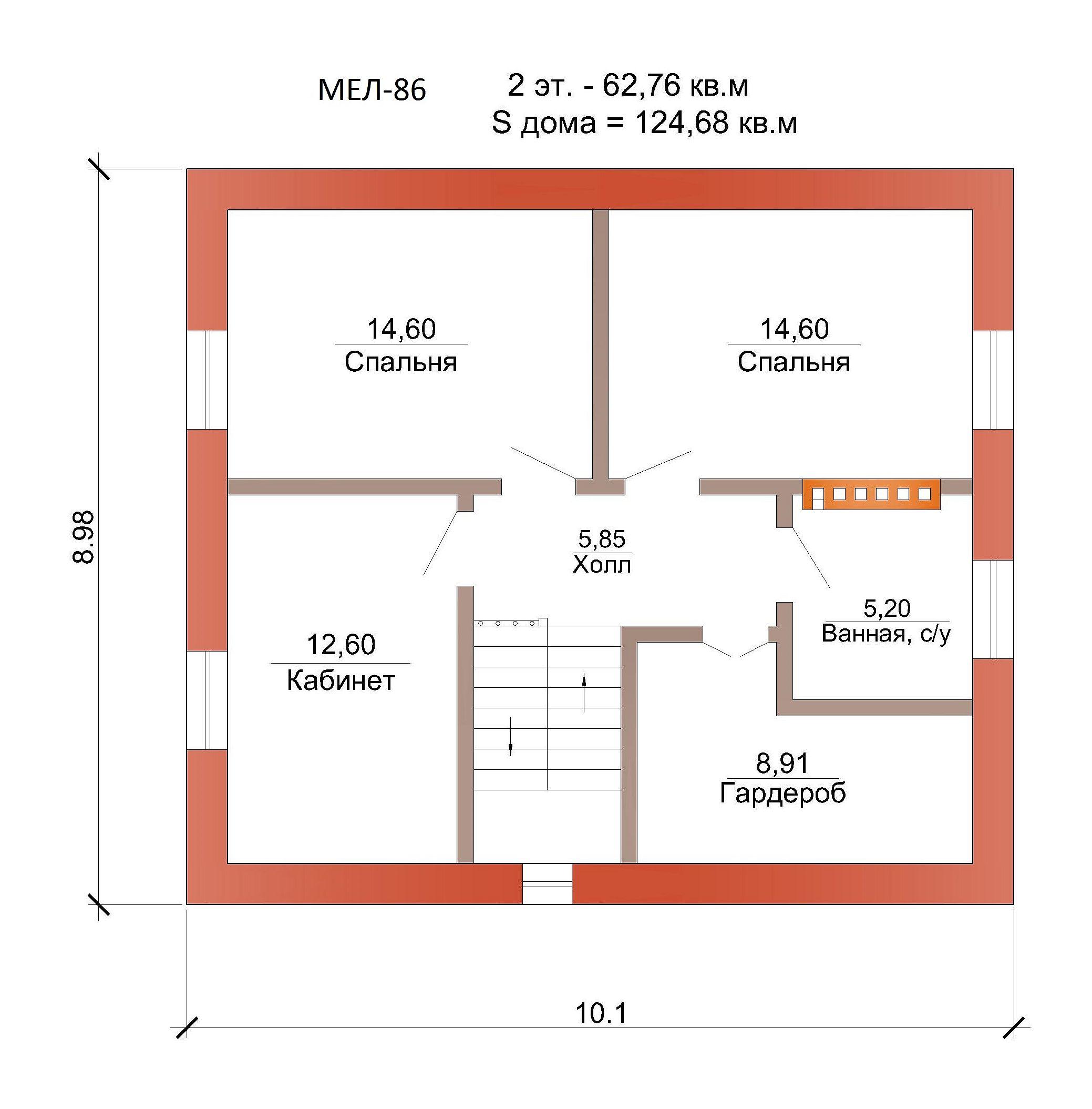 Готовый проект коттеджа 124 кв. м / Артикул Мел-86 план