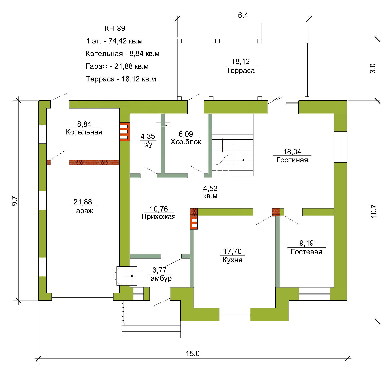 Готовый проект коттеджа 148 кв. м / Артикул KH-89 план