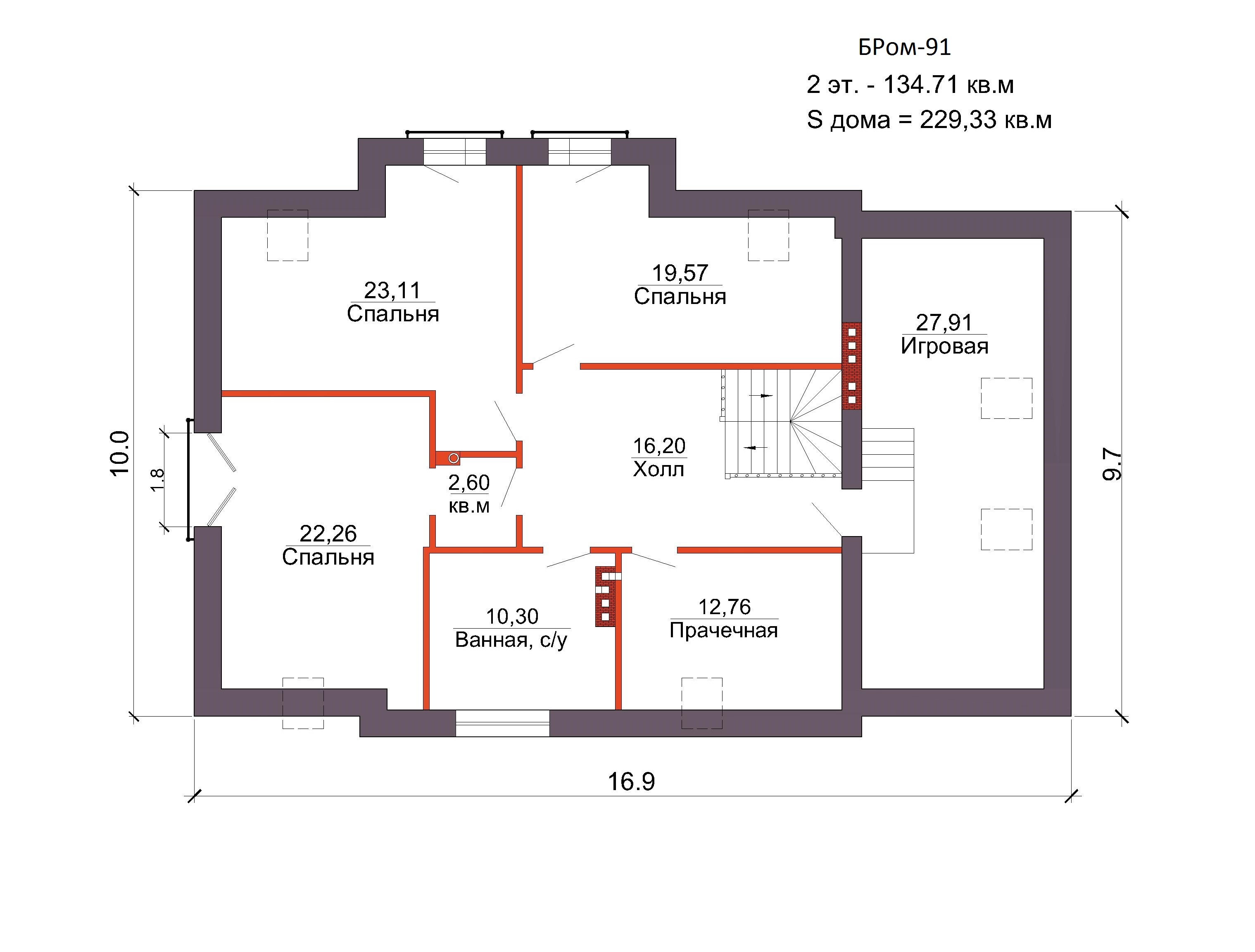 Проект коттеджа 229 кв. м / Артикул бром-91 план