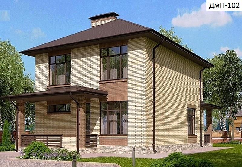 Готовый проект дома 135 кв.м // Артикул ДмП-102 фасад