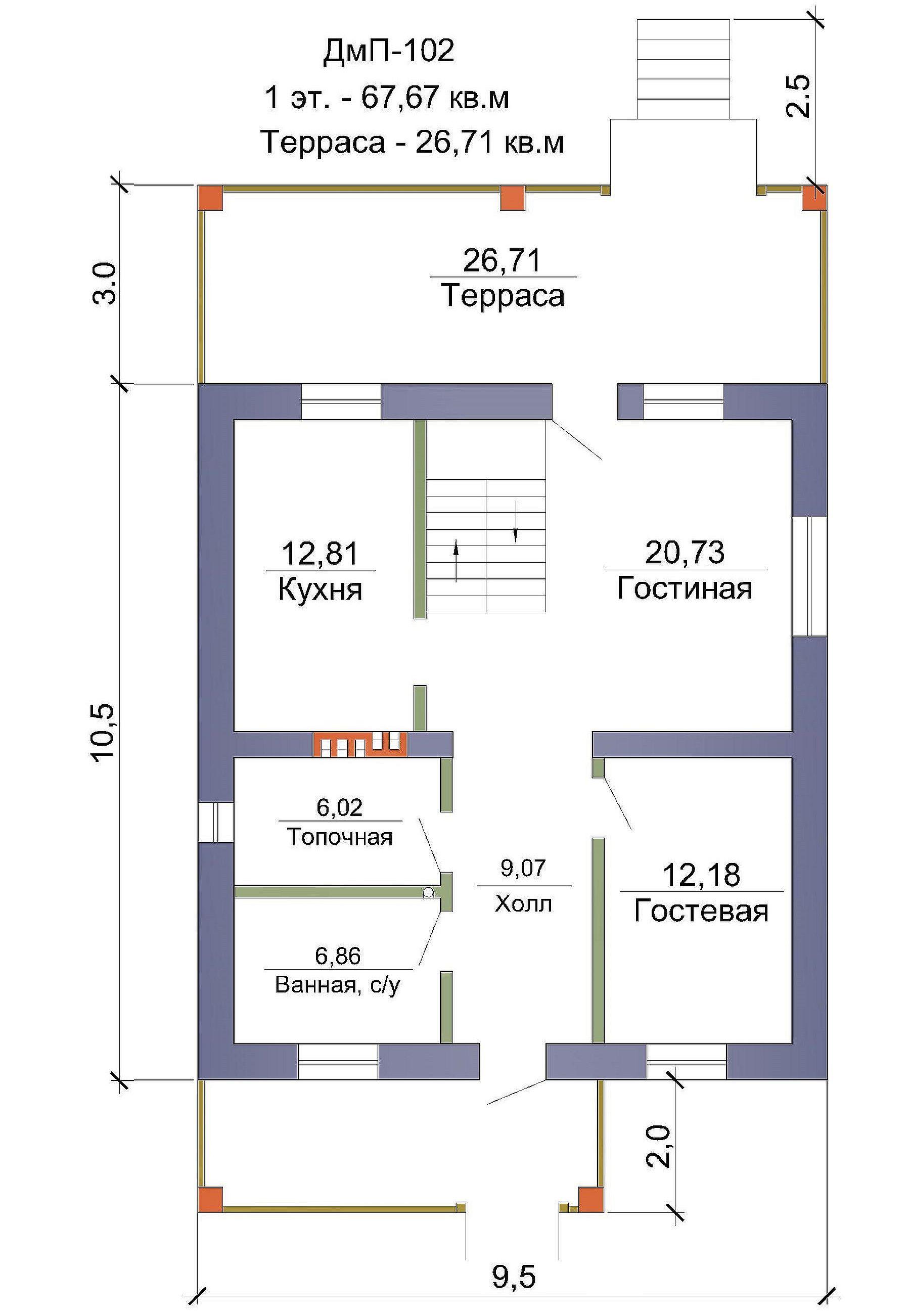 Готовый проект дома 135 кв.м // Артикул ДмП-102 план