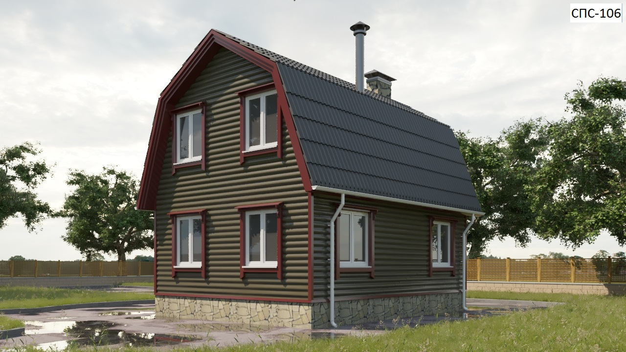 Проект небольшого дома 79 кв.м / Артикул СПС-106 фасад