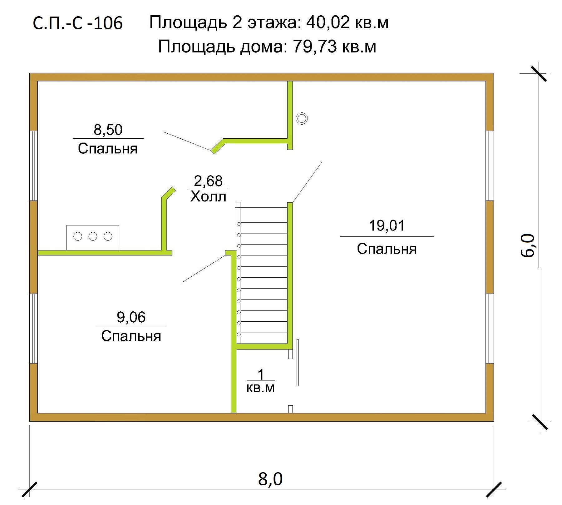 Проект небольшого дома 79 кв.м / Артикул СПС-106 план
