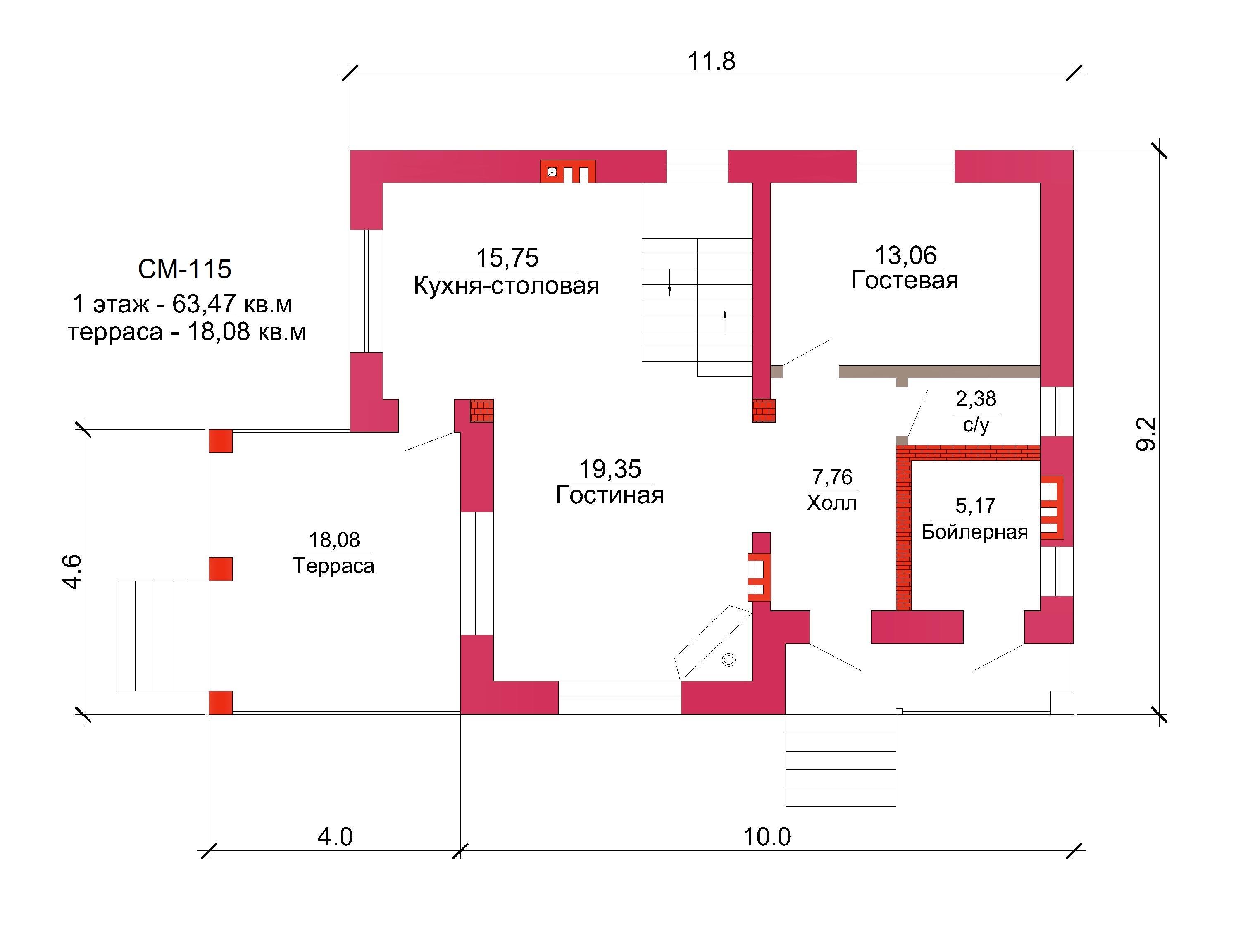 Готовый проект коттеджа 126 кв. м / Артикул СМ-115 план