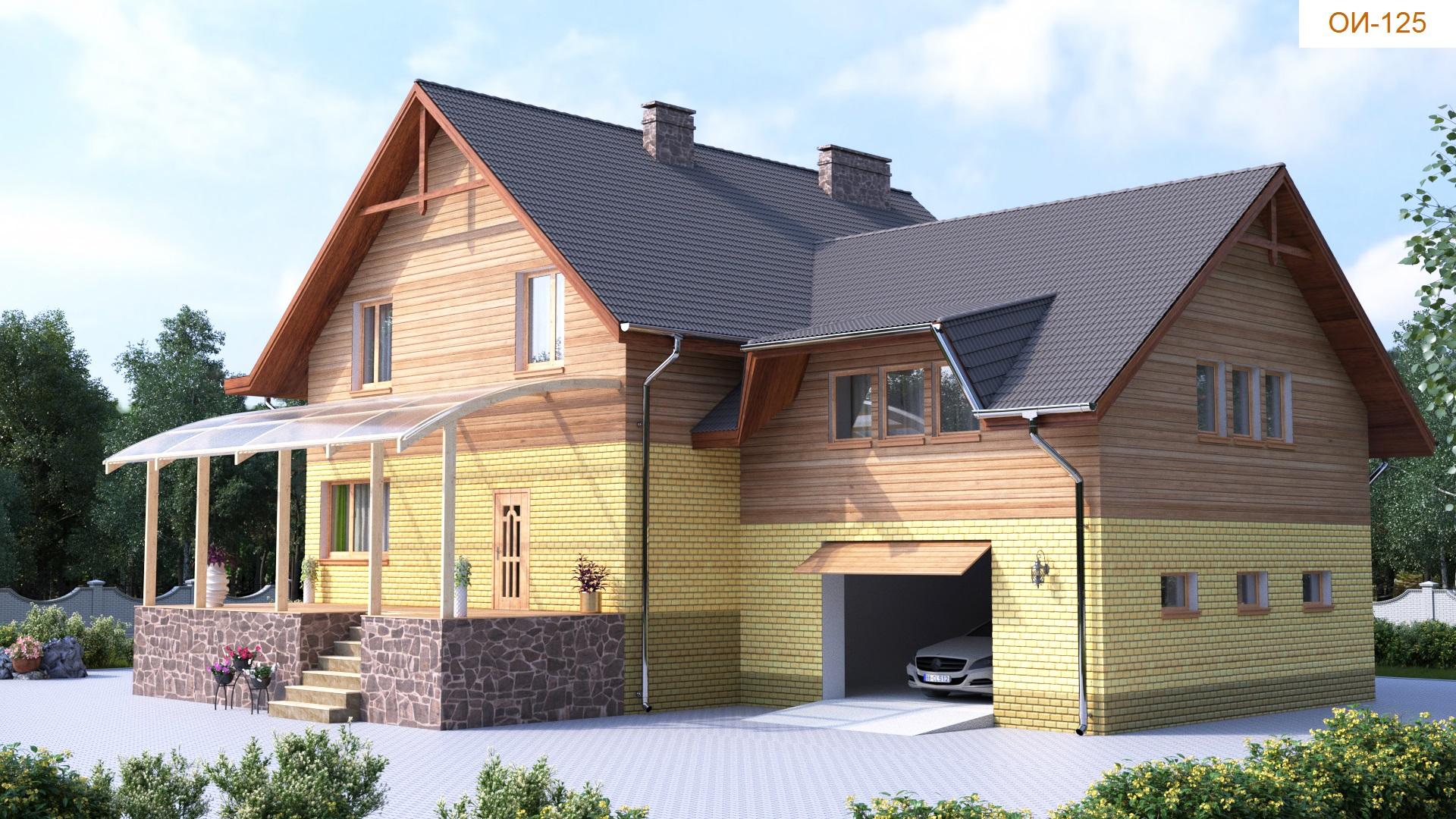 Проект коттеджа 343кв. м / Артикул ОИ-125 фасад