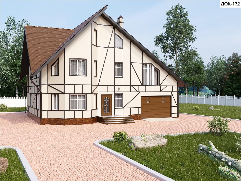 Готовый проект коттеджа 322 кв.м / Артикул док-132 фасад