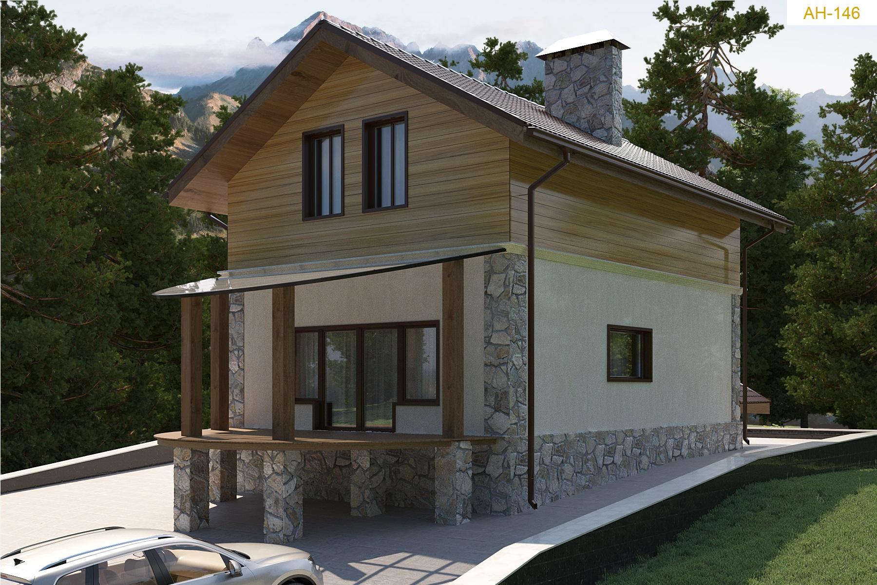 Готовый проект дома 97 кв.м // Артикул АН-146 фасад