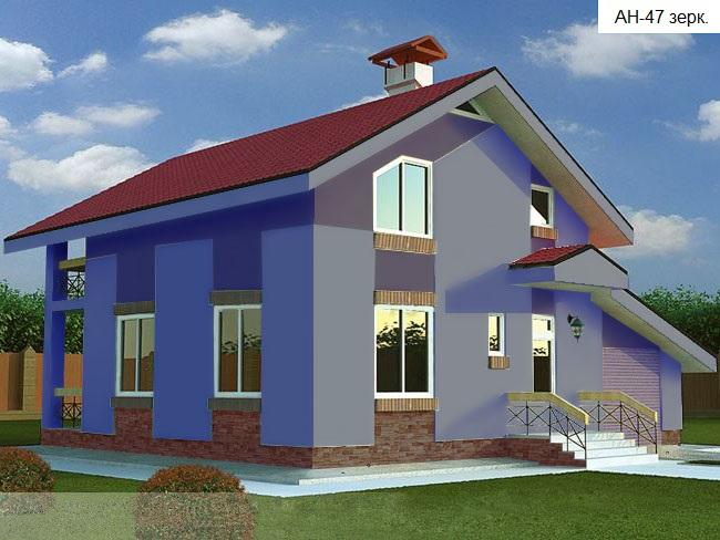 Готовый проект коттеджа 120 кв.м // Артикул AН-47 фасад