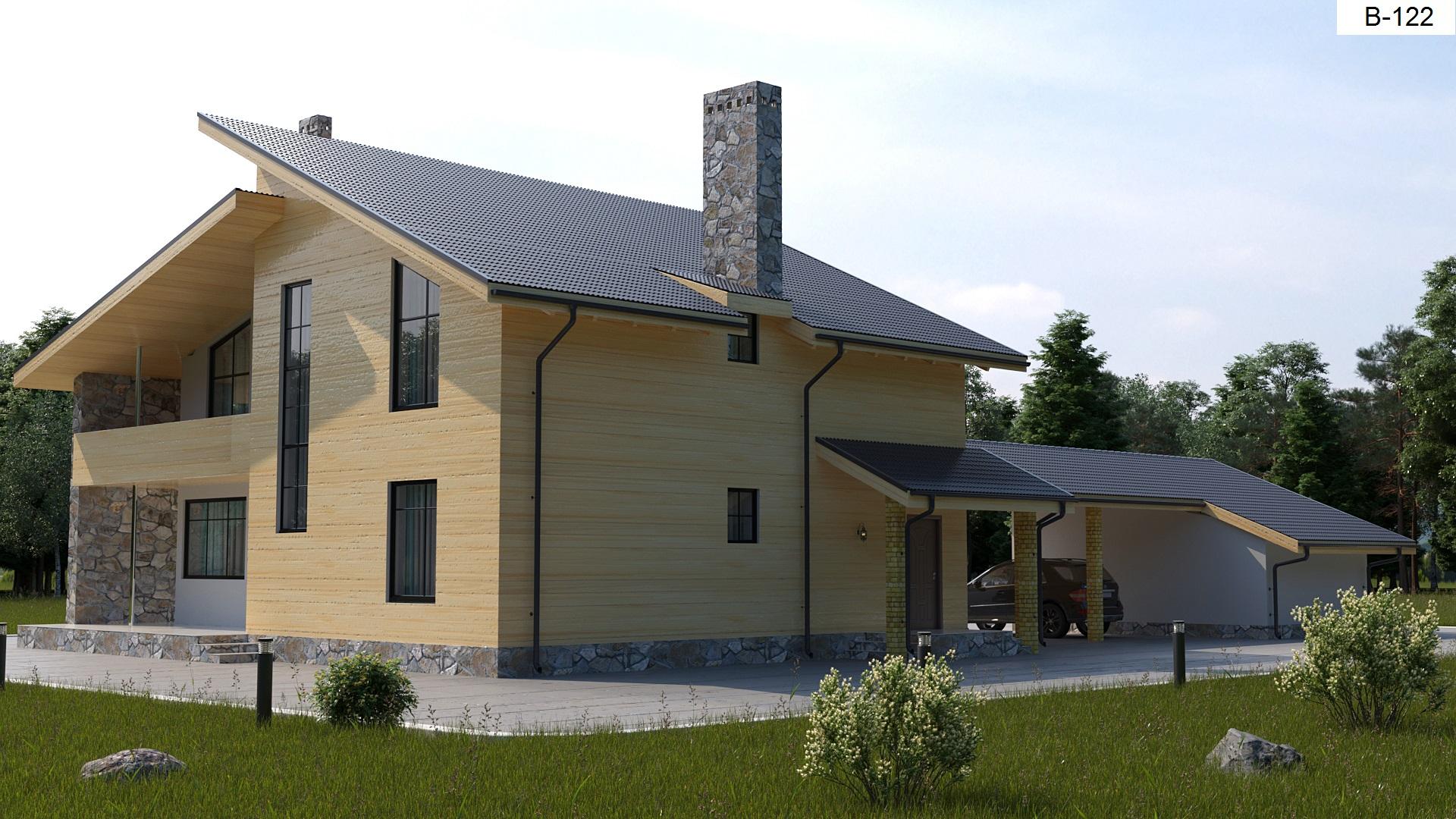 Готовый проект дома 198 кв.м // Артикул В-122 фасад