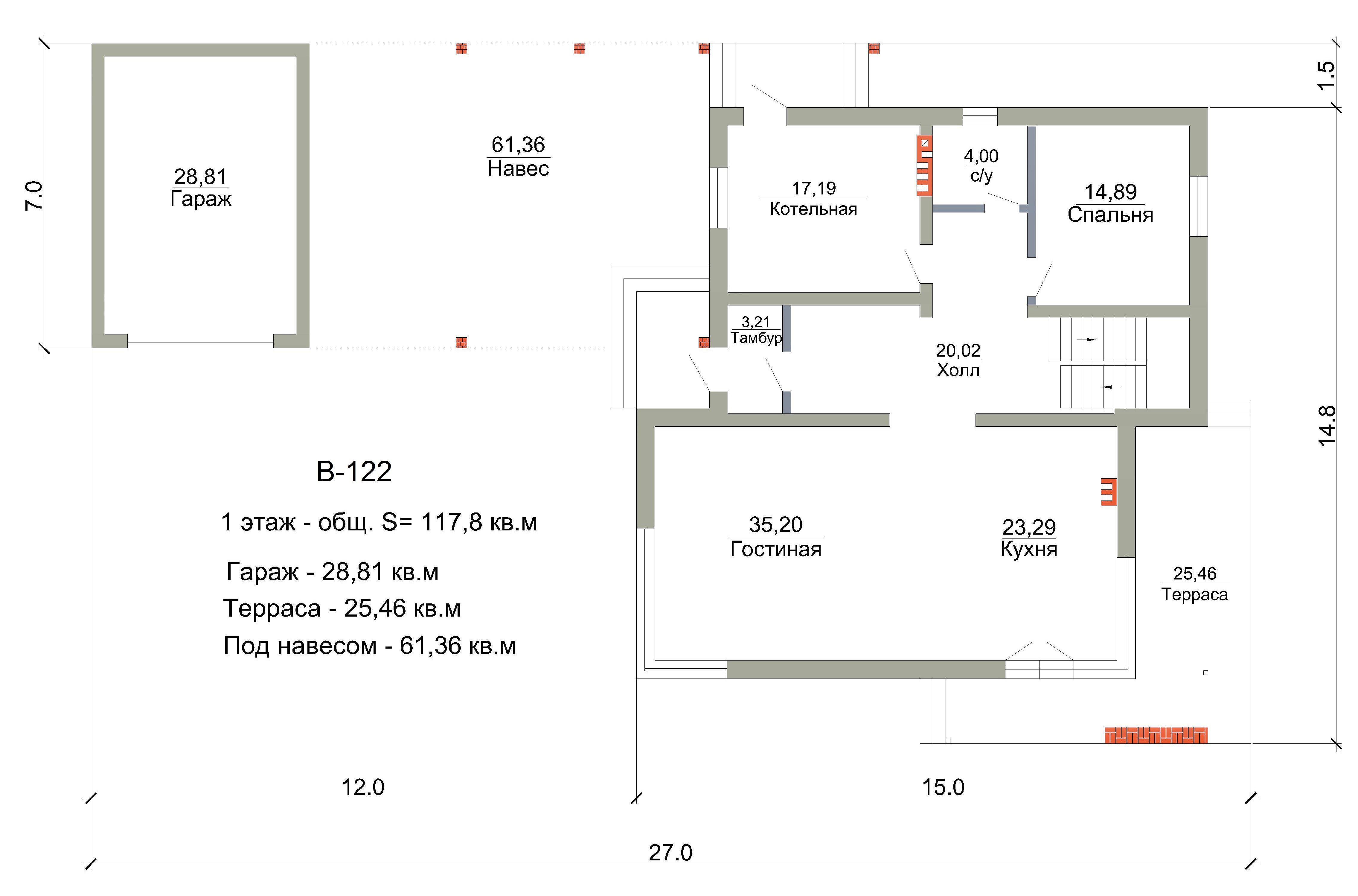 Готовый проект дома 198 кв.м // Артикул В-122 план