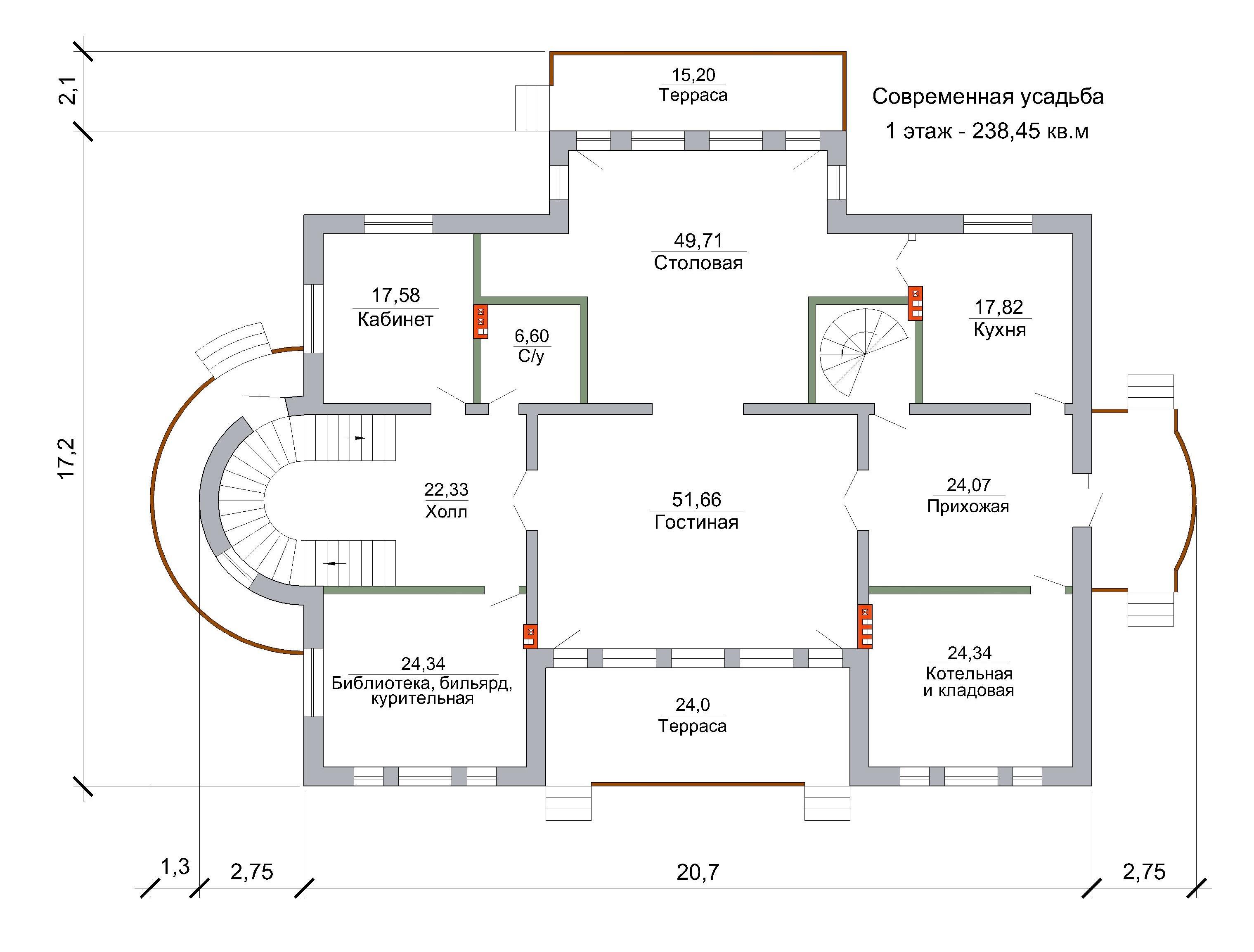 Проект современной усадьбы // 267 кв.м план