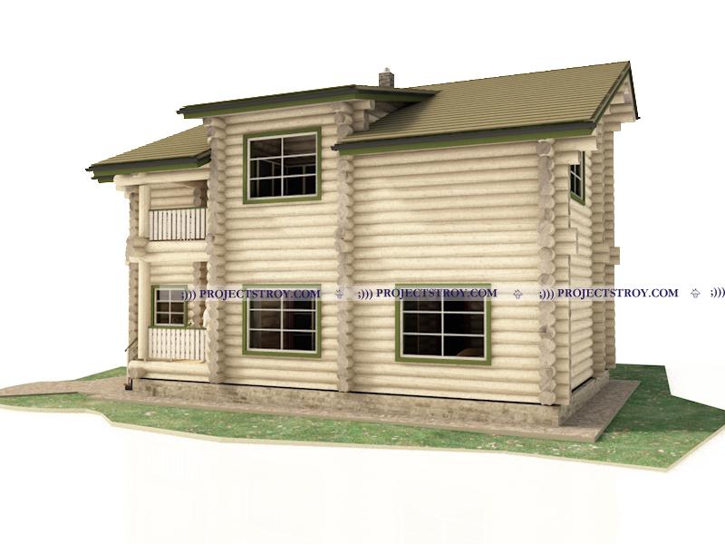 Дом из бревна 12.9 х 12.4 м фасад