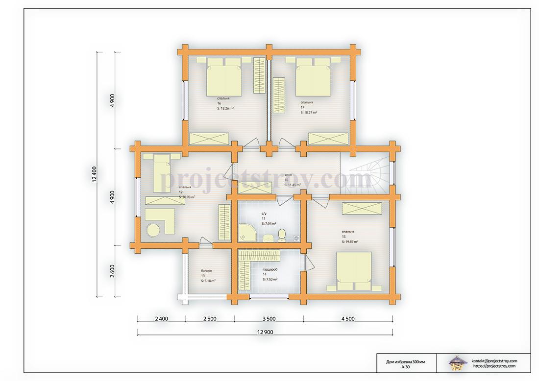 Дом из бревна 12.9 х 12.4 м план