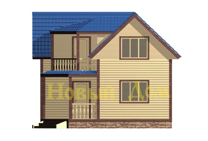 Дом из бруса. Проект Д-56-КЭ фасад