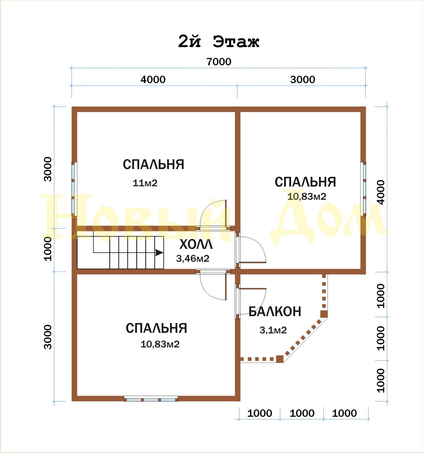 Дом из бруса. Проект Д-56-КЭ план