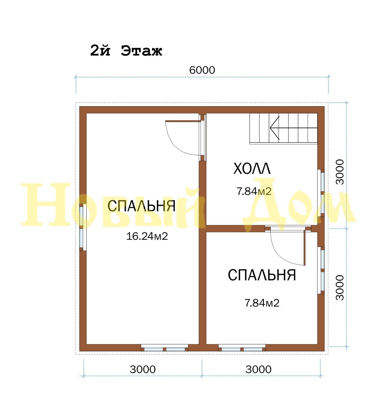 Каркасный дом. Проект Д-23-К. план