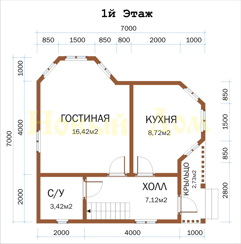 Проект дома Д-29-КЭ план