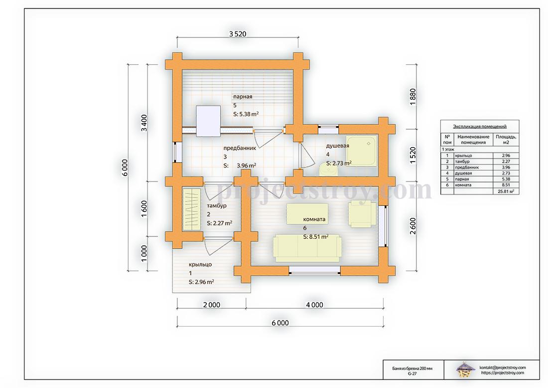 Баня одноэтажная 6 х 6 м план