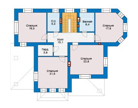 Проект кирпичного дома 40-25 план