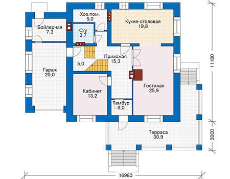 Проект кирпичного дома 40-35 план