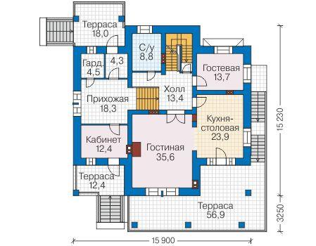 Проект кирпичного дома 40-43 план