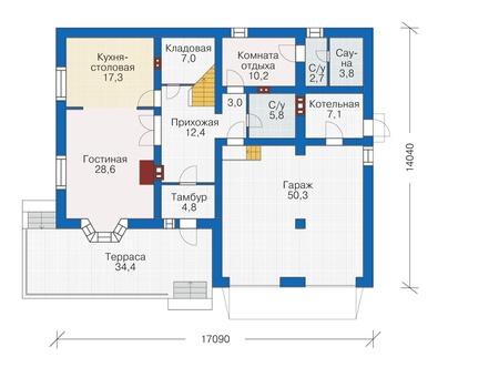 Проект кирпичного дома 40-54 план