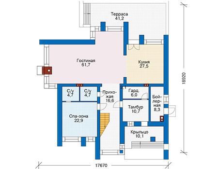 Проект кирпичного дома 40-57 план