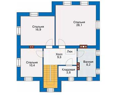 Проект кирпичного дома 40-67 план