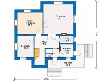 Проект кирпичного дома 40-68 план