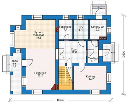 Проект бетонного дома 40-73 план