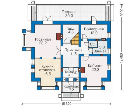 Проект кирпичного дома 40-97 план