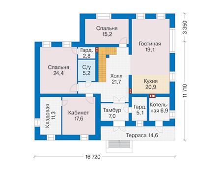 Проект кирпичного дома 41-05 план
