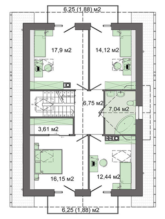 Проект дома 4m3200 план