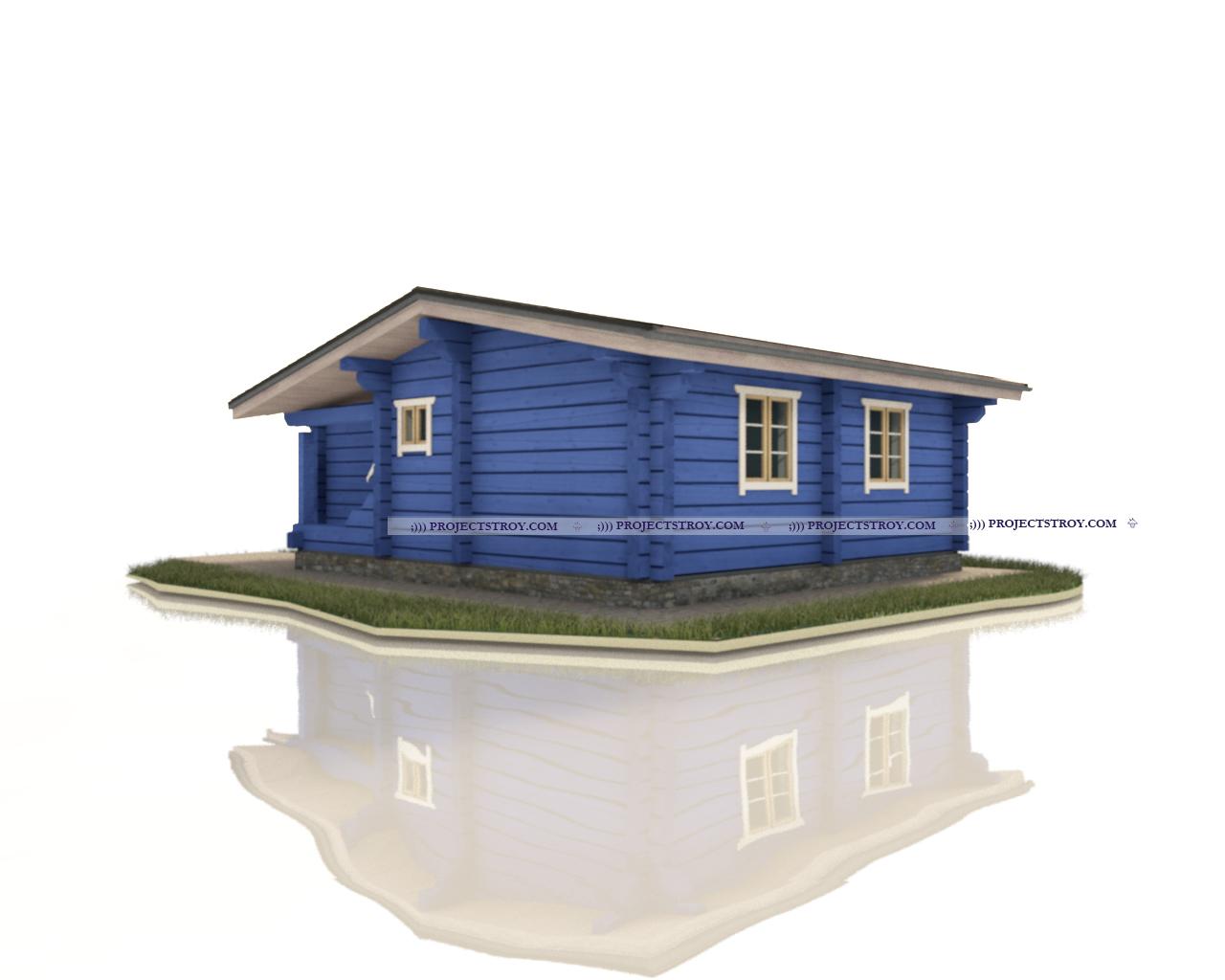 Одноэтажный дом для вытянутых участков фасад